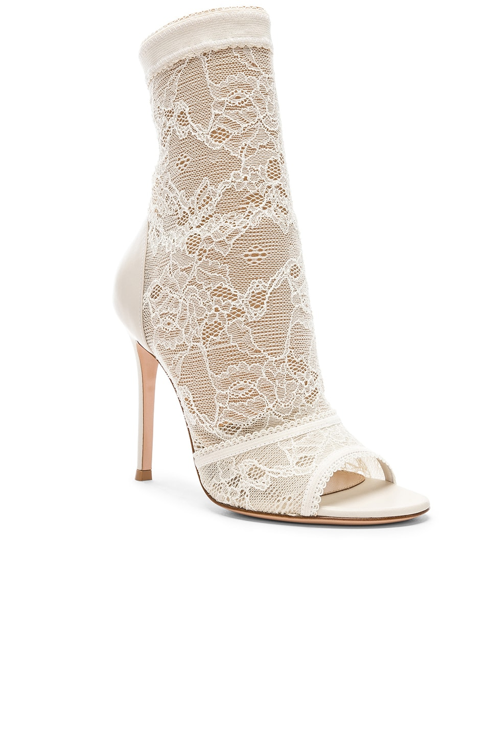 Image 2 of Gianvito Rossi Pizzo Stretch Nappa Ankle Booties in Off White