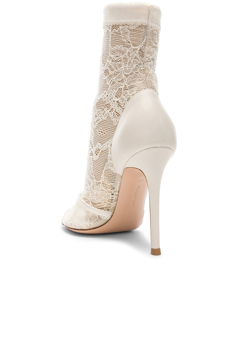 Image 3 of Gianvito Rossi Pizzo Stretch Nappa Ankle Booties in Off White