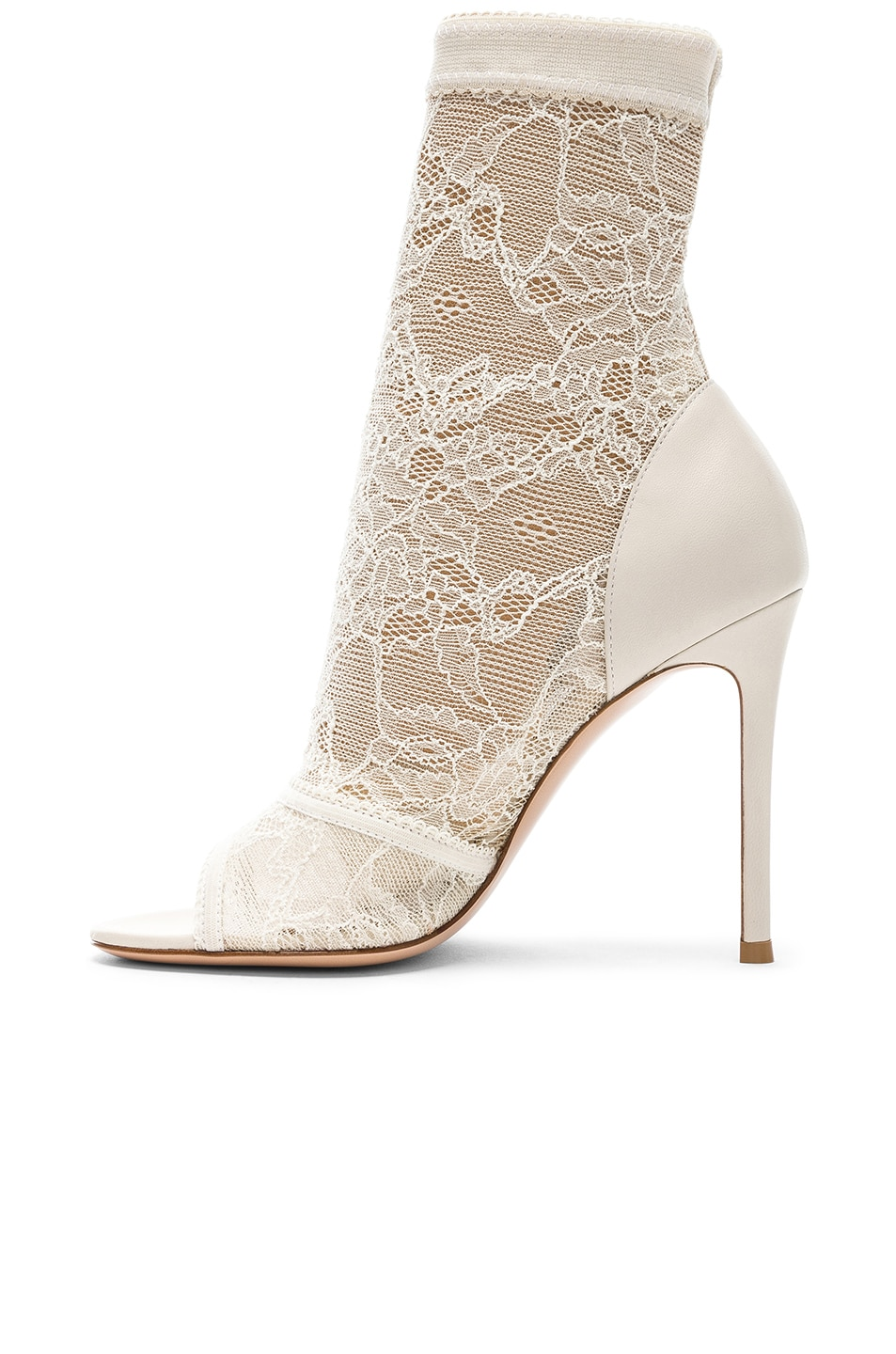 Image 5 of Gianvito Rossi Pizzo Stretch Nappa Ankle Booties in Off White