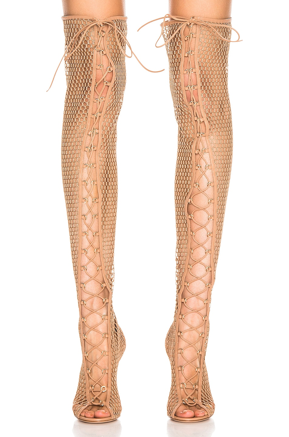 Image 2 of Gianvito Rossi Helena Knee Lace Up Boot in Praline