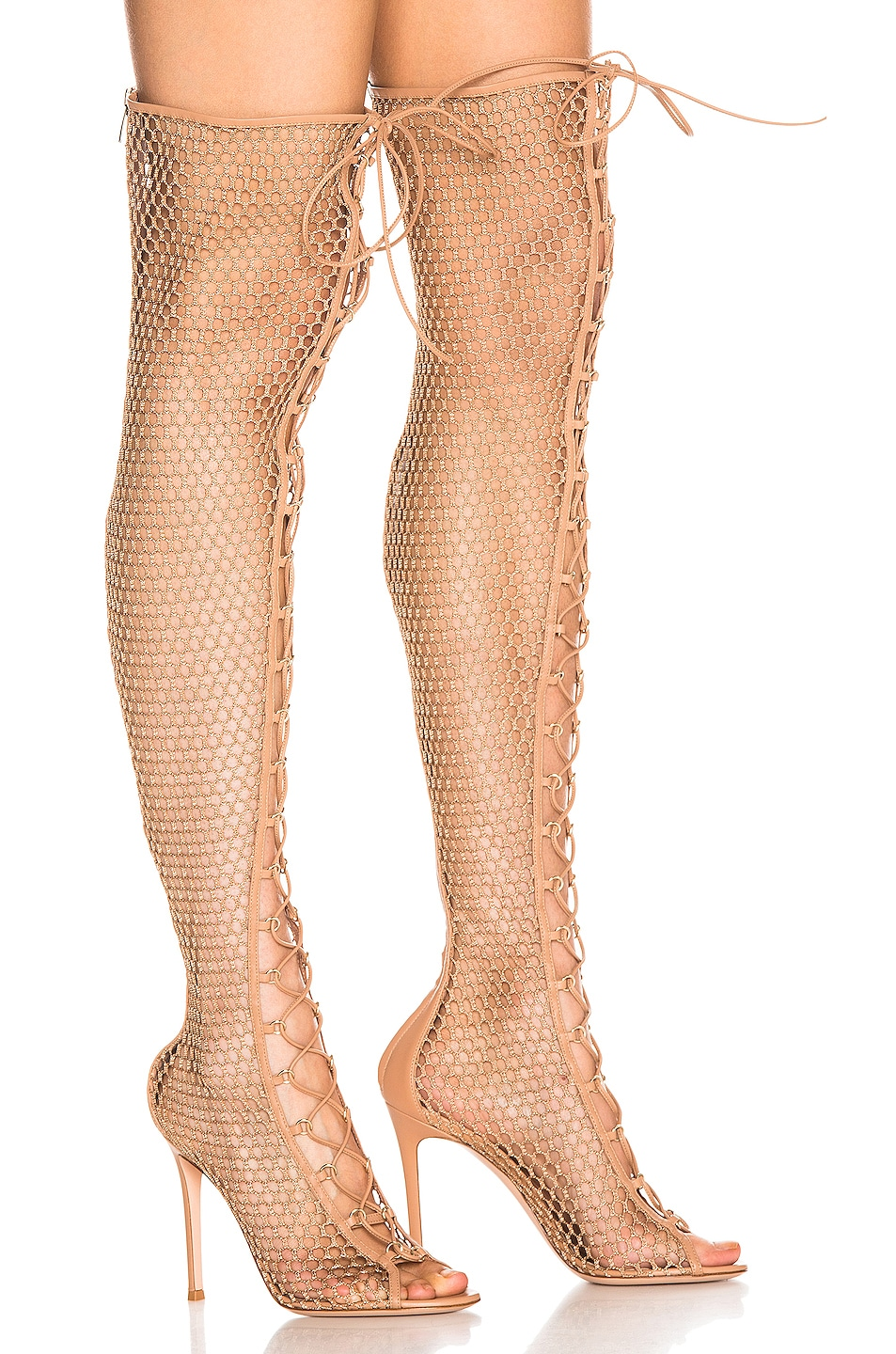 Image 3 of Gianvito Rossi Helena Knee Lace Up Boot in Praline