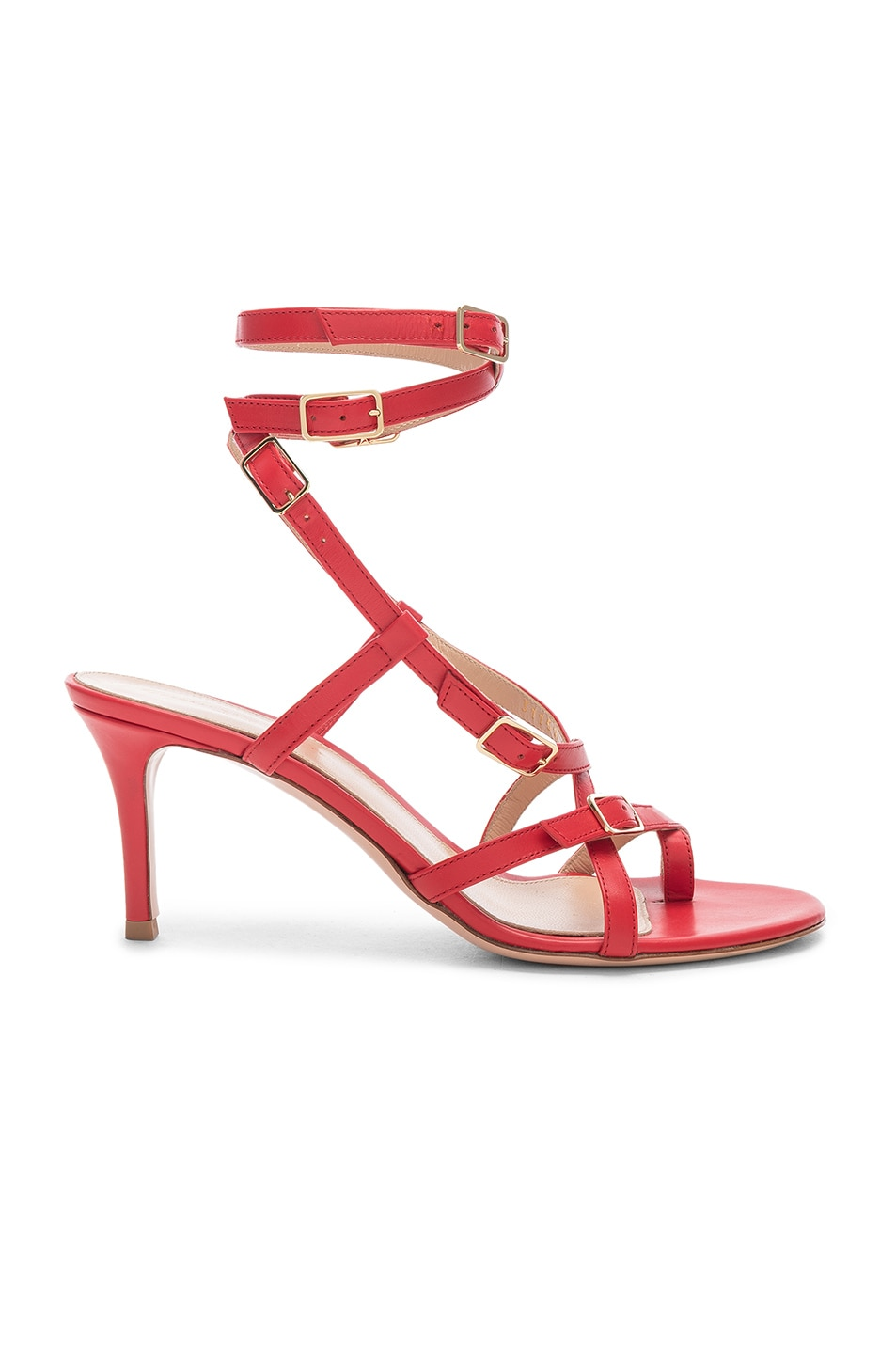 Image 1 of Gianvito Rossi Cory Buckle Strappy Heel in Tabasco Red
