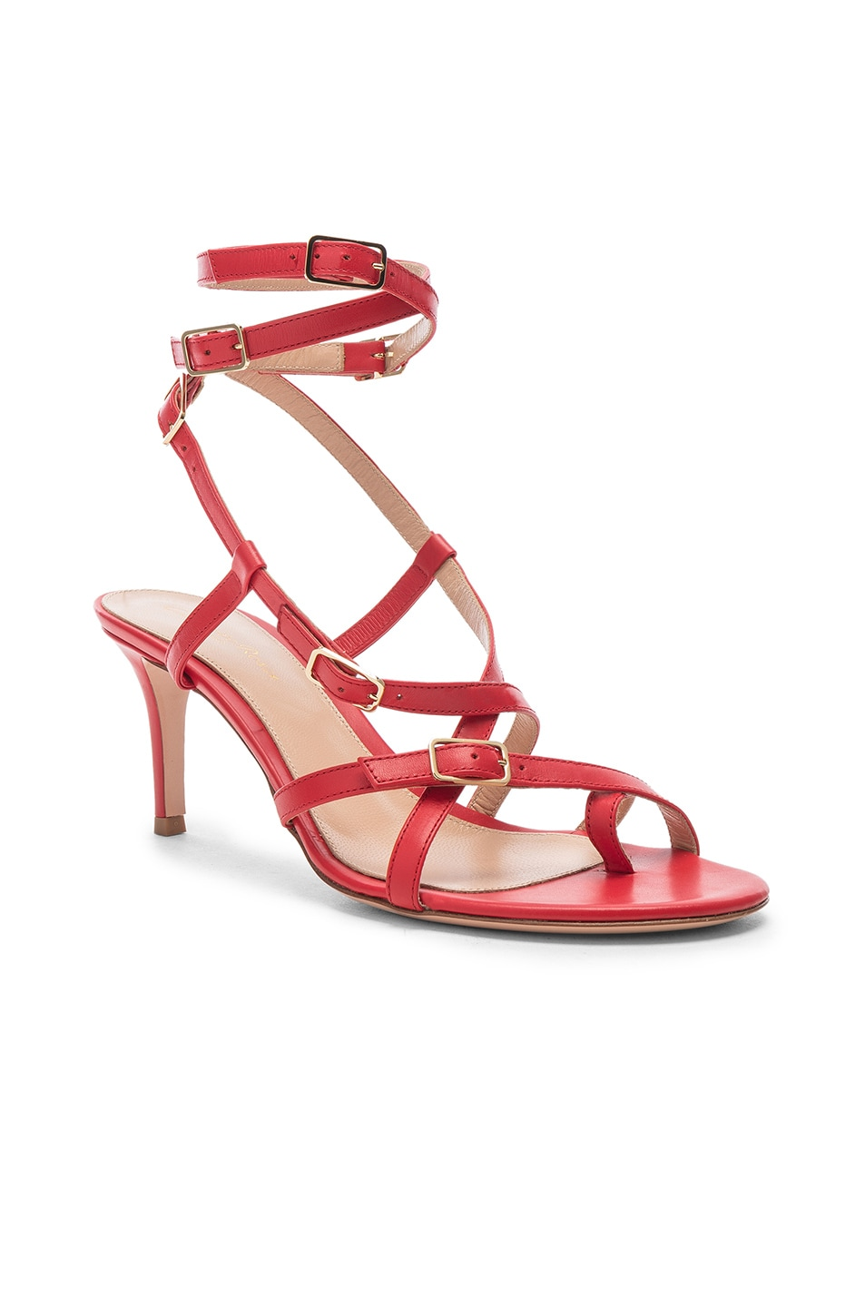 Image 2 of Gianvito Rossi Cory Buckle Strappy Heel in Tabasco Red