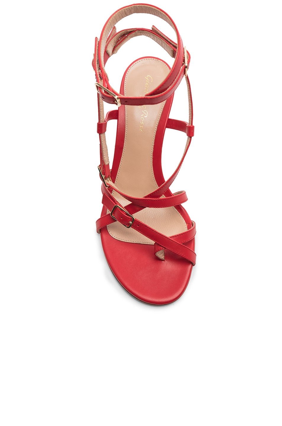 Image 4 of Gianvito Rossi Cory Buckle Strappy Heel in Tabasco Red