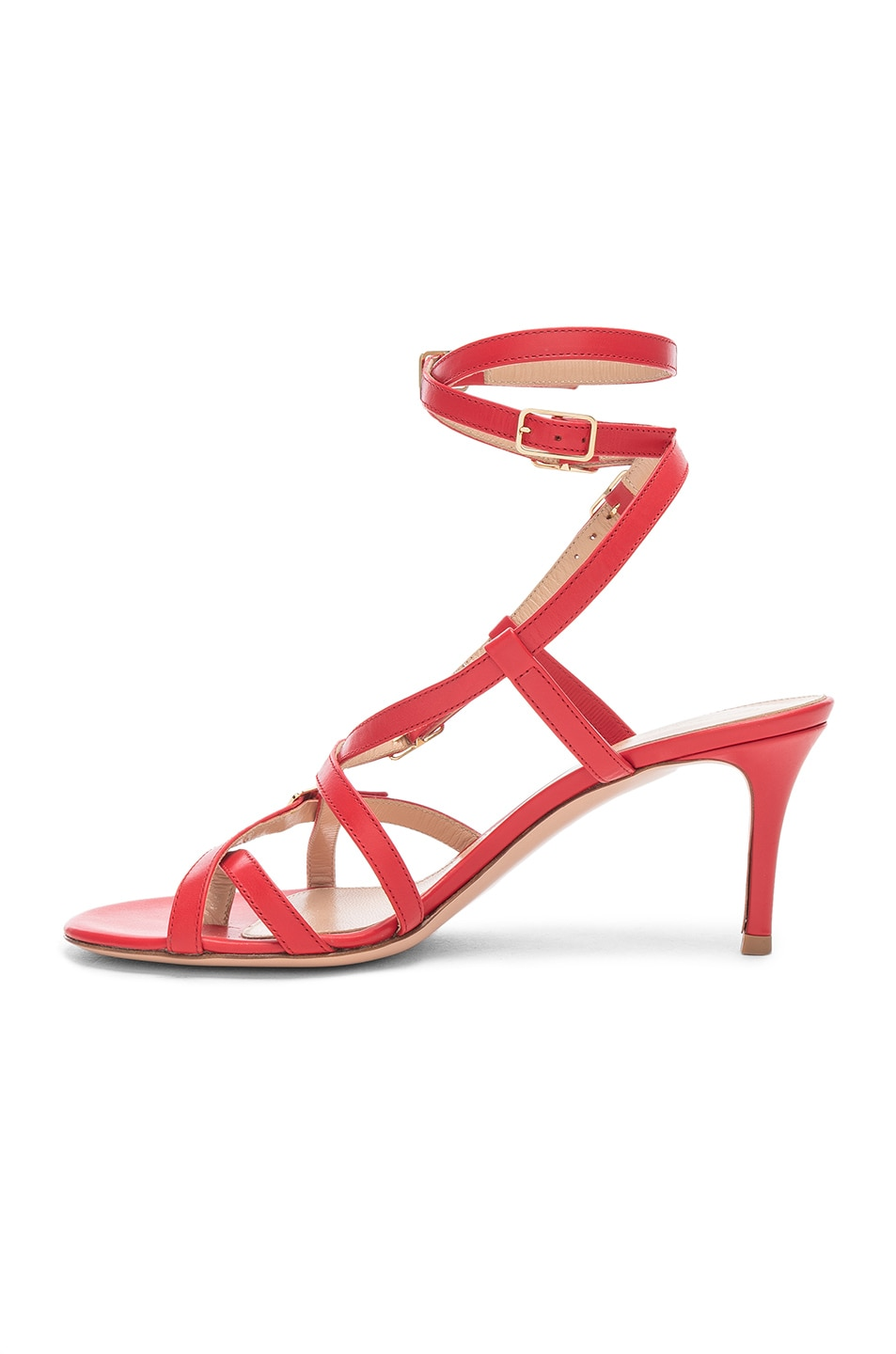 Image 5 of Gianvito Rossi Cory Buckle Strappy Heel in Tabasco Red