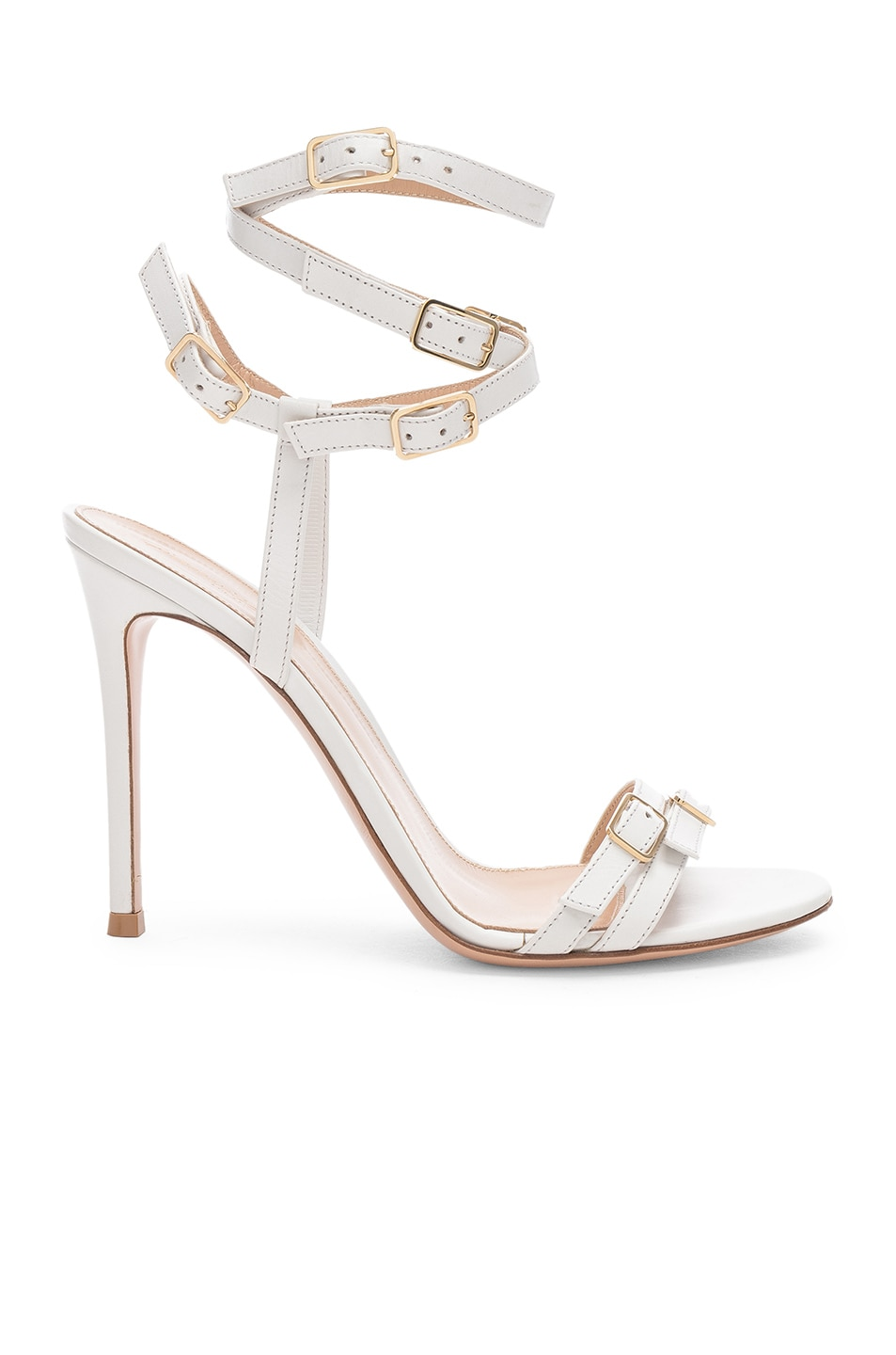 Image 1 of Gianvito Rossi Cassandra Buckle Strappy Heel in White