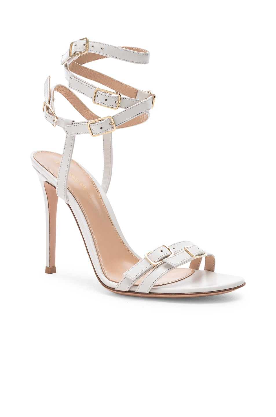 Image 2 of Gianvito Rossi Cassandra Buckle Strappy Heel in White