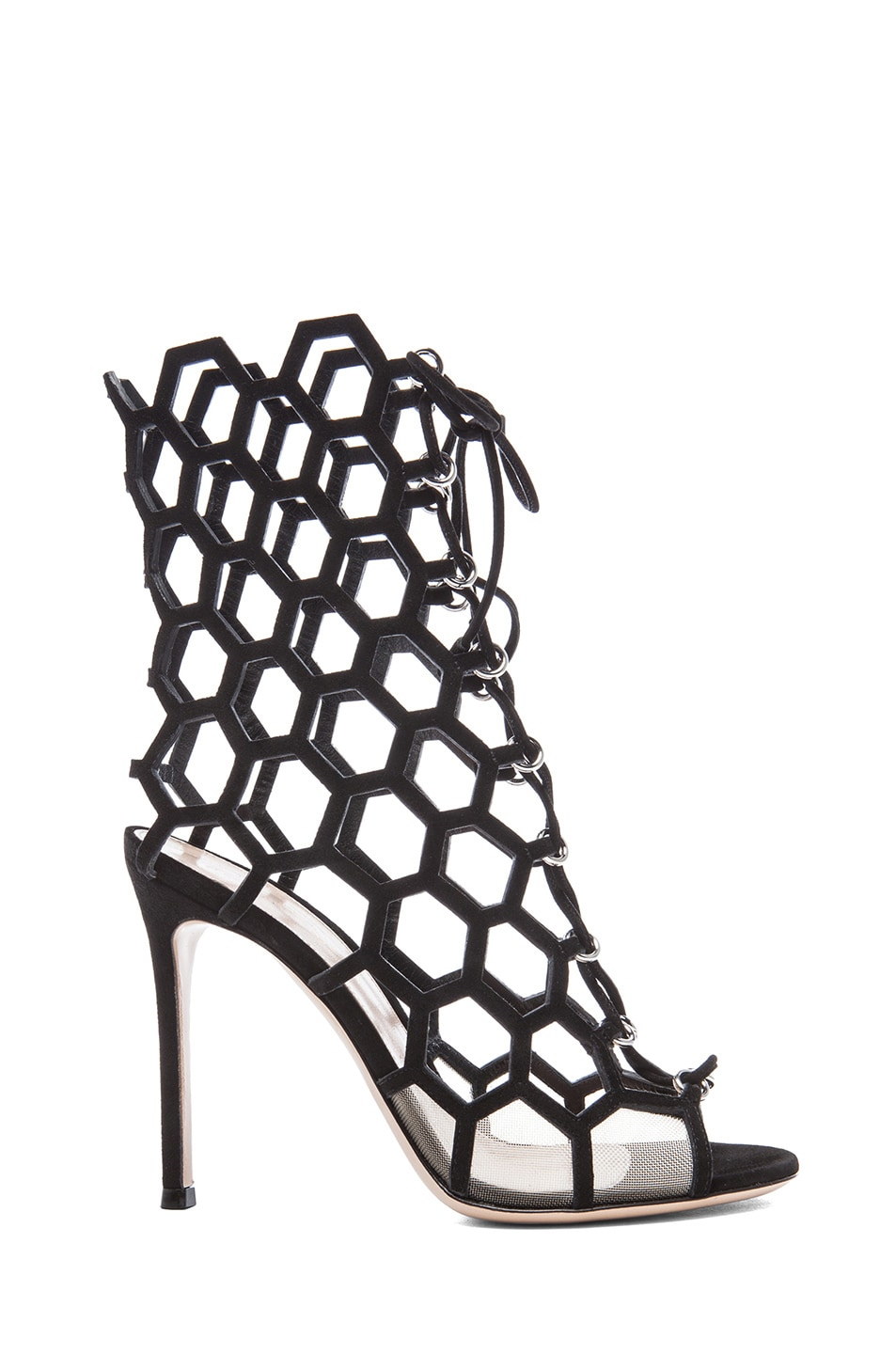 Image 1 of Gianvito Rossi Suede Lace Up Booties in Nero & Nude