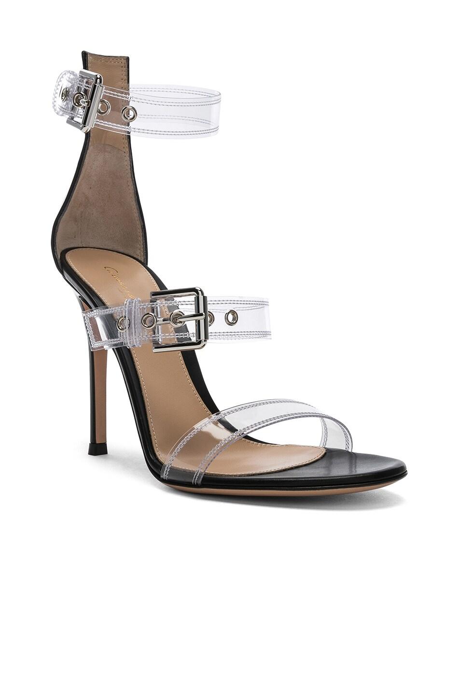 Image 2 of Gianvito Rossi Plexi Gabby Strap Heels in Trasp & Black