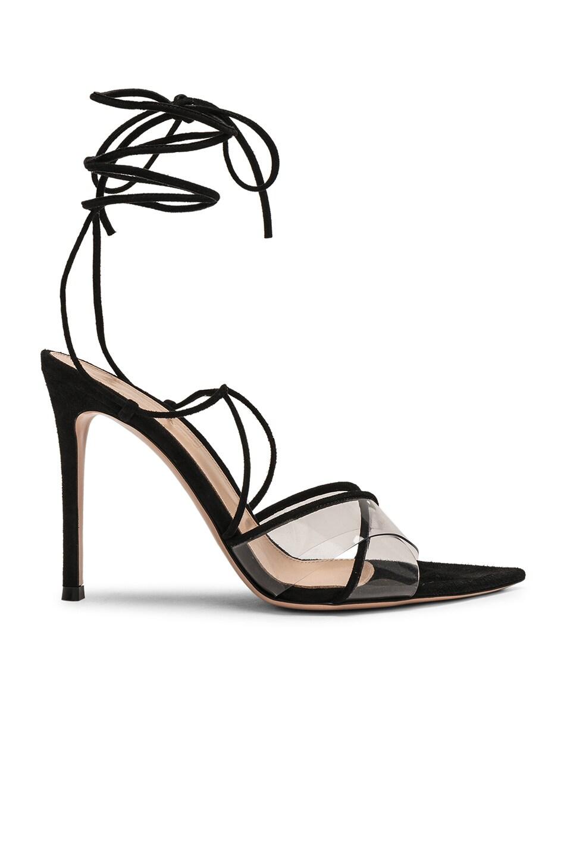 Image 1 of Gianvito Rossi Plexi Camoscio Tie Heels in Trasp & Black