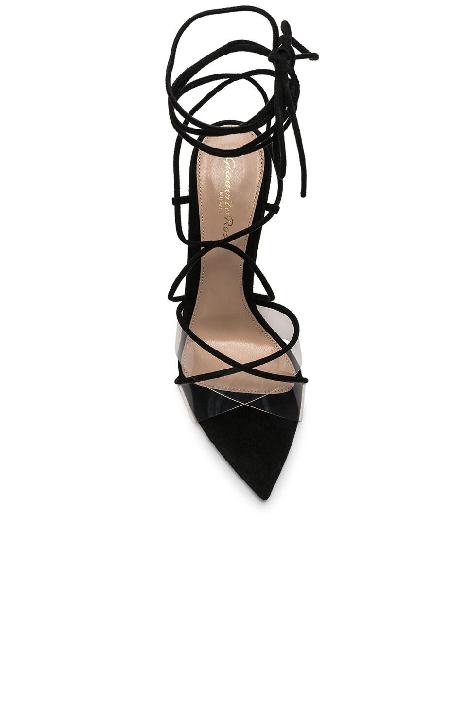 Image 4 of Gianvito Rossi Plexi Camoscio Tie Heels in Trasp & Black