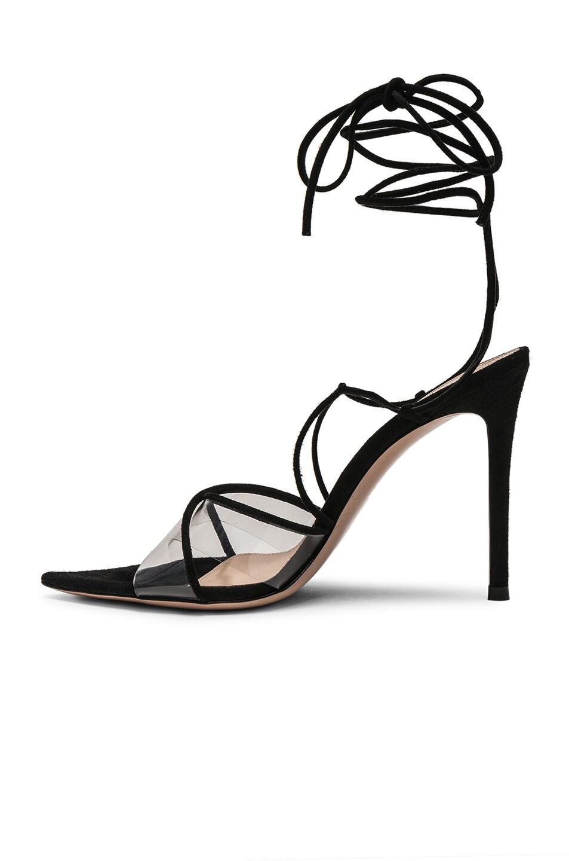 Image 5 of Gianvito Rossi Plexi Camoscio Tie Heels in Trasp & Black