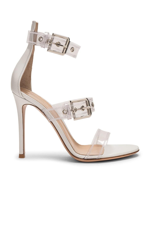 Image 1 of Gianvito Rossi Plexi Vitello Strap Heels in Trasp & White