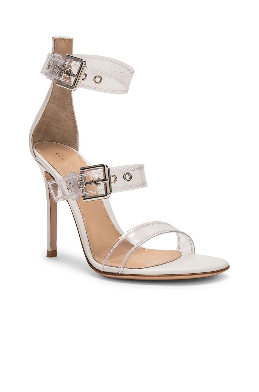 Image 2 of Gianvito Rossi Plexi Vitello Strap Heels in Trasp & White