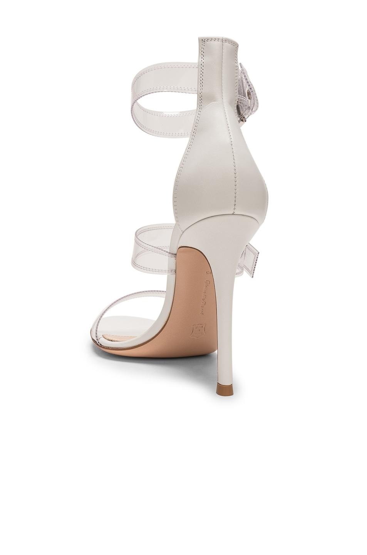 Image 3 of Gianvito Rossi Plexi Vitello Strap Heels in Trasp & White