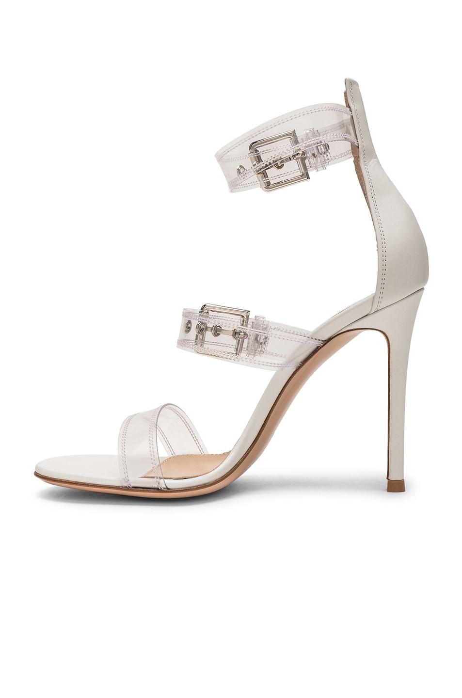 Image 5 of Gianvito Rossi Plexi Vitello Strap Heels in Trasp & White
