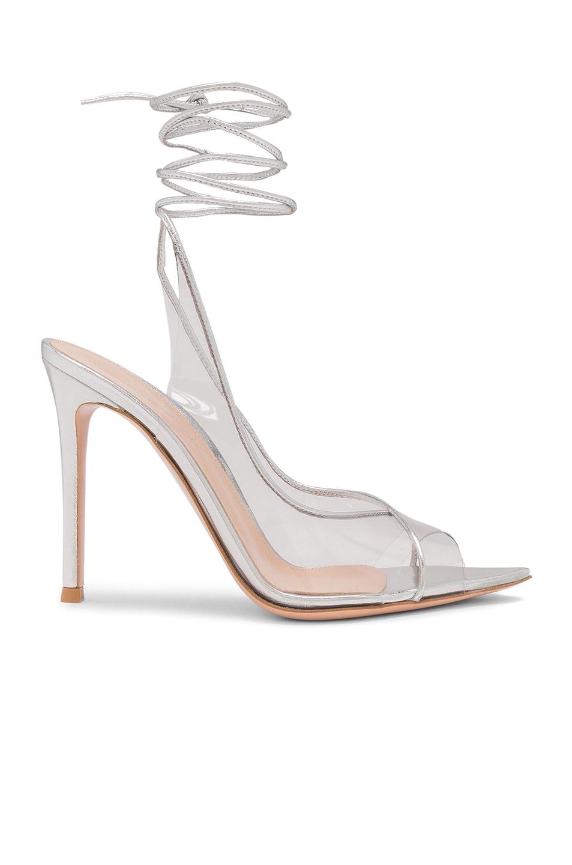 Image 1 of Gianvito Rossi Plexi Nappa Silk Strappy Heels in Trasp & Silver