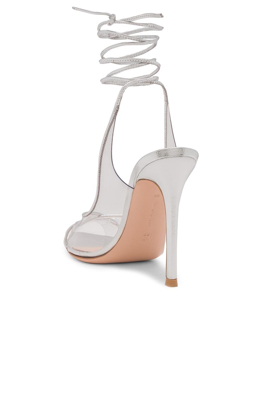 Image 3 of Gianvito Rossi Plexi Nappa Silk Strappy Heels in Trasp & Silver