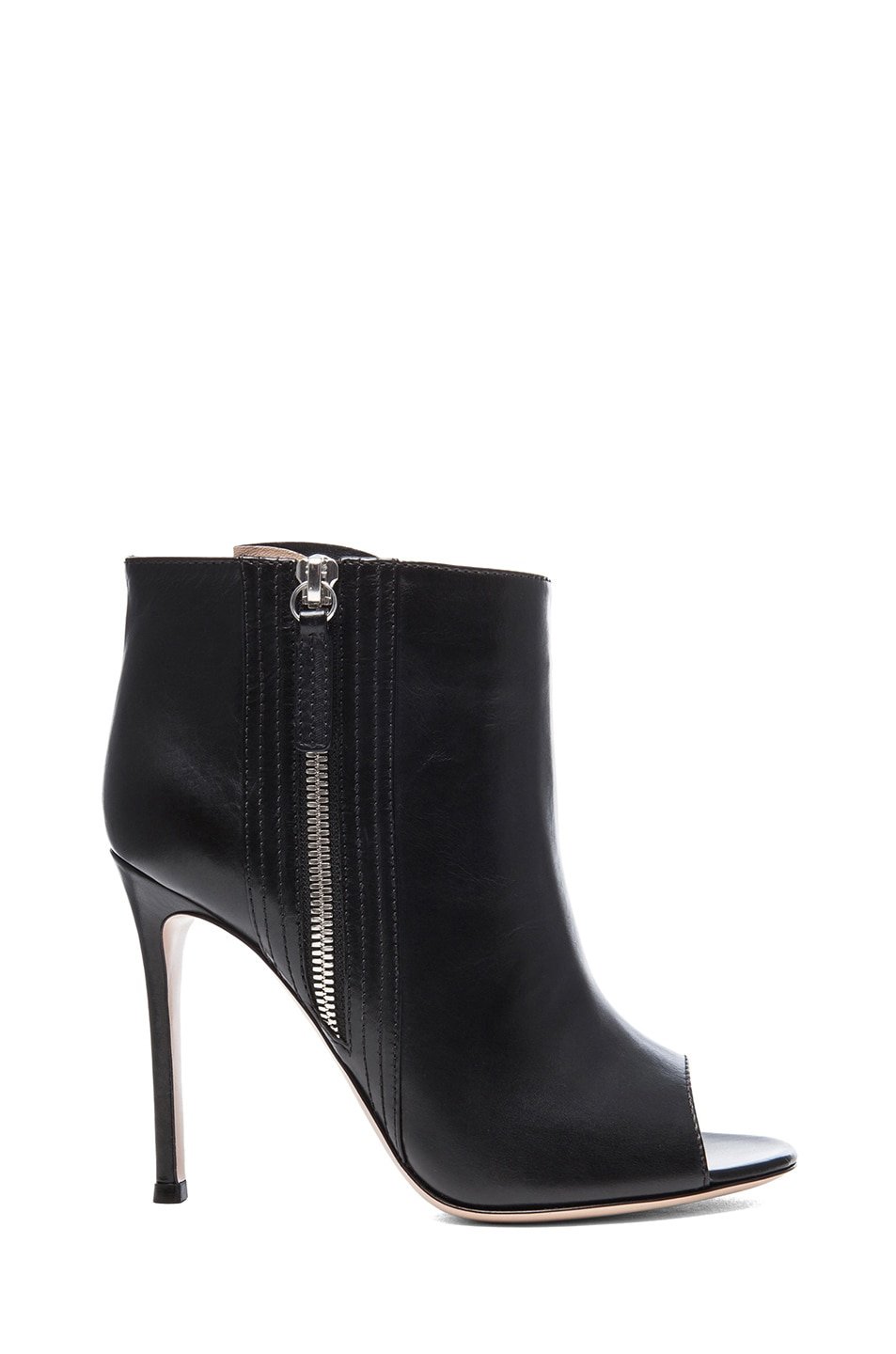 Image 1 of Gianvito Rossi Open Toe Leather Booties in Black