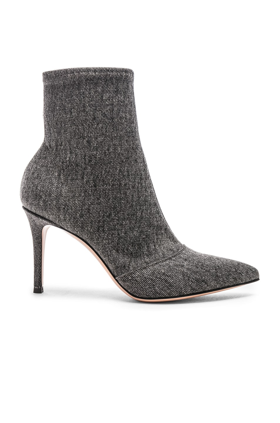 Image 1 of Gianvito Rossi Denim Stretch Ankle Booties in Black