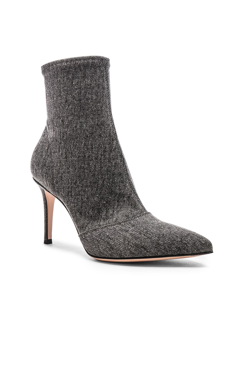 Image 2 of Gianvito Rossi Denim Stretch Ankle Booties in Black
