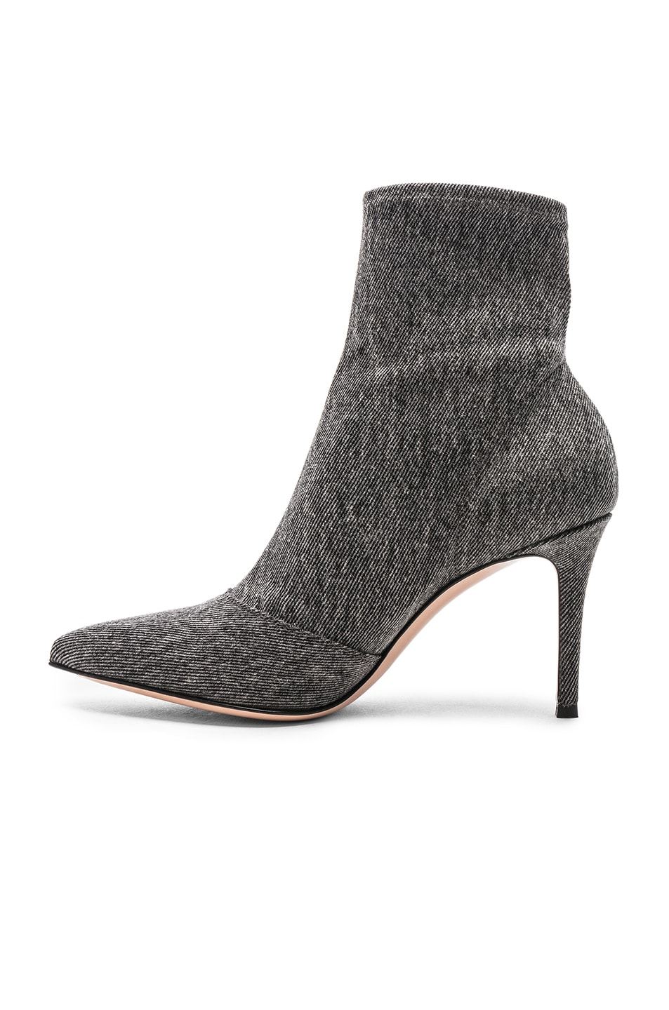 Image 5 of Gianvito Rossi Denim Stretch Ankle Booties in Black
