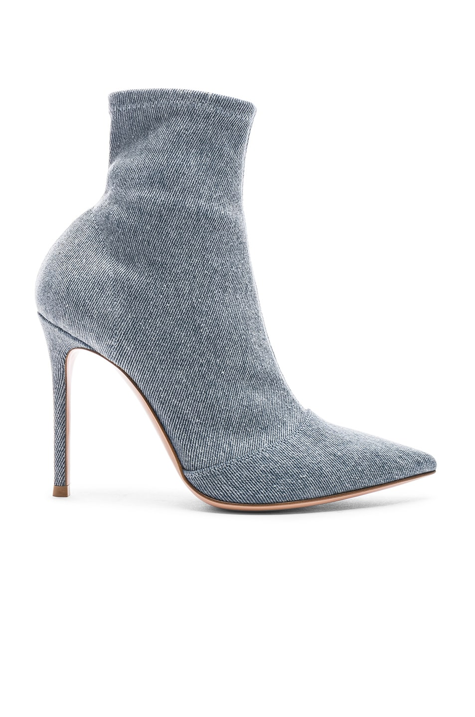 Image 1 of Gianvito Rossi Denim Stretch Ankle Booties in Stonewash
