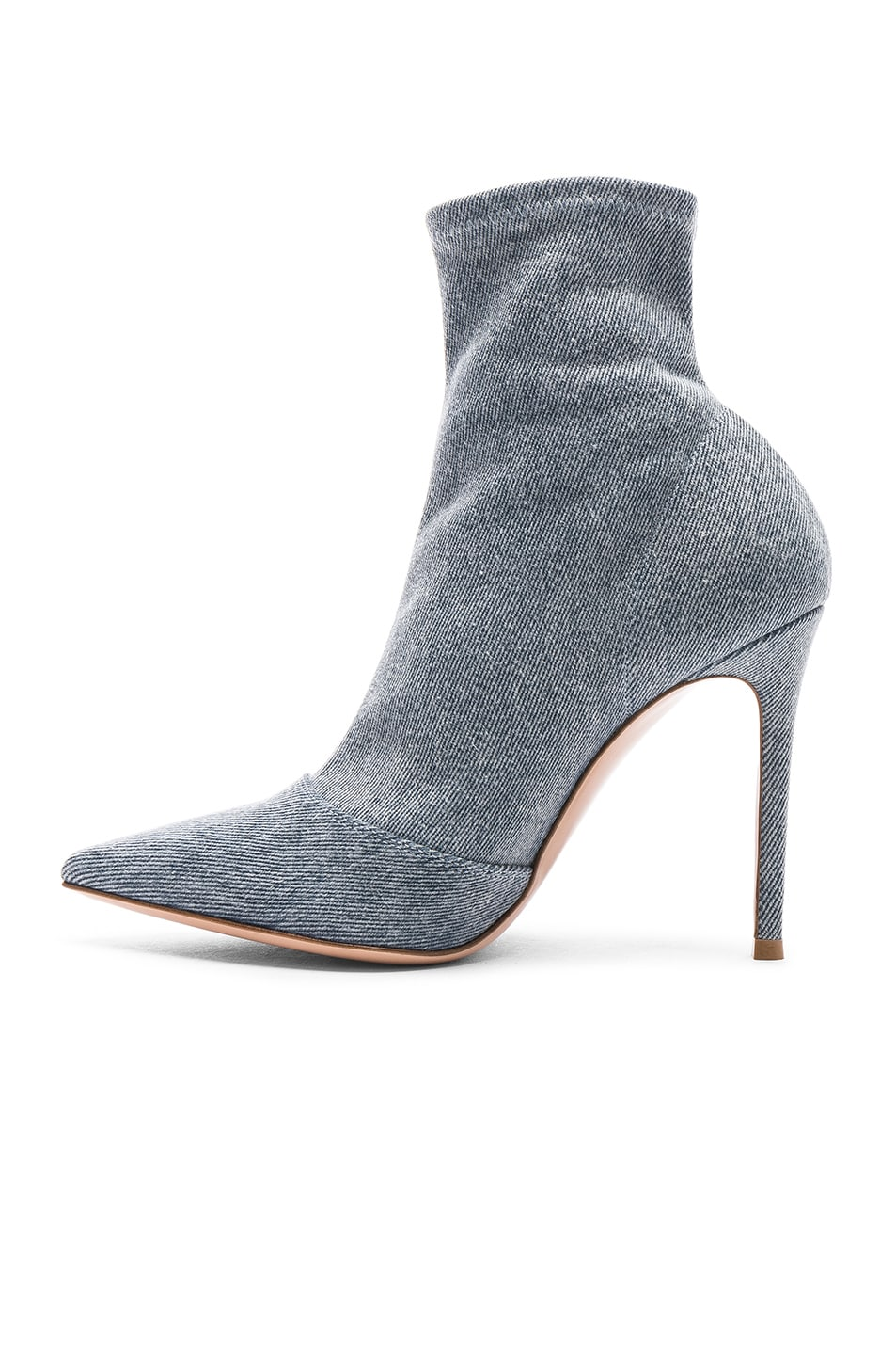 Image 5 of Gianvito Rossi Denim Stretch Ankle Booties in Stonewash