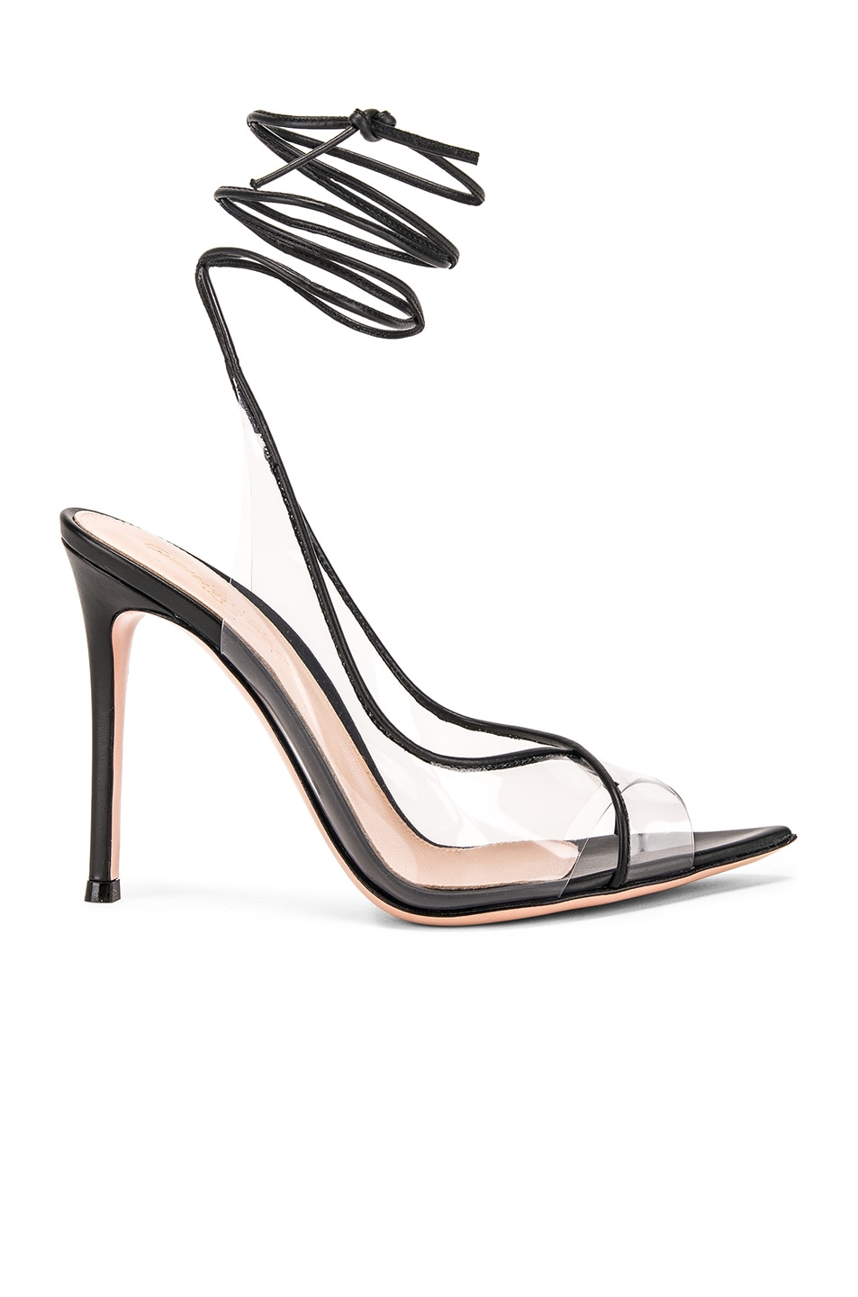Image 1 of Gianvito Rossi Denise Heels in Black & Transparent