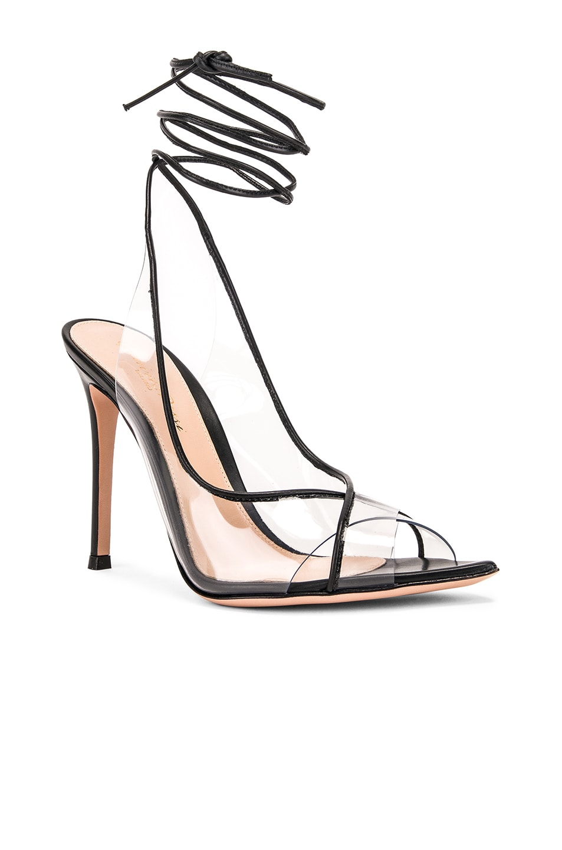Image 2 of Gianvito Rossi Denise Heels in Black & Transparent