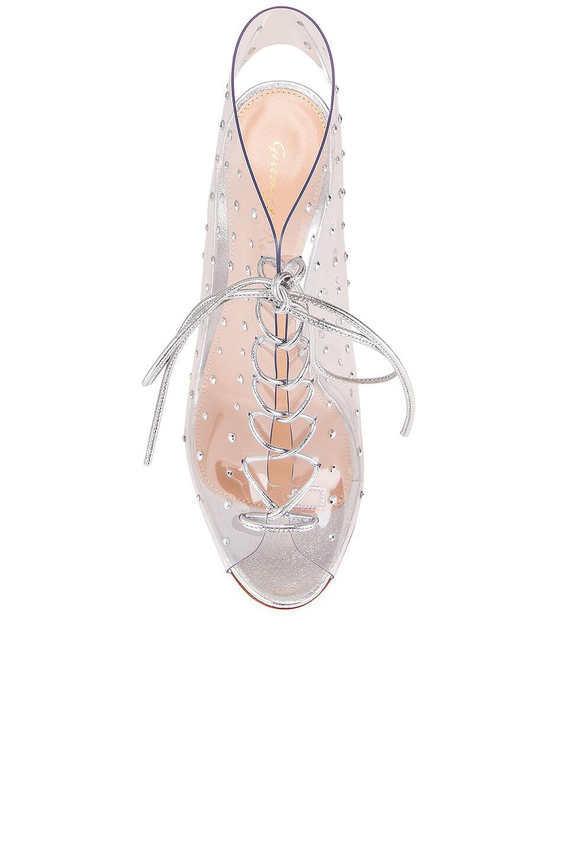 Image 4 of Gianvito Rossi Plexi Nappa Silk Heels in Trasp & Silver