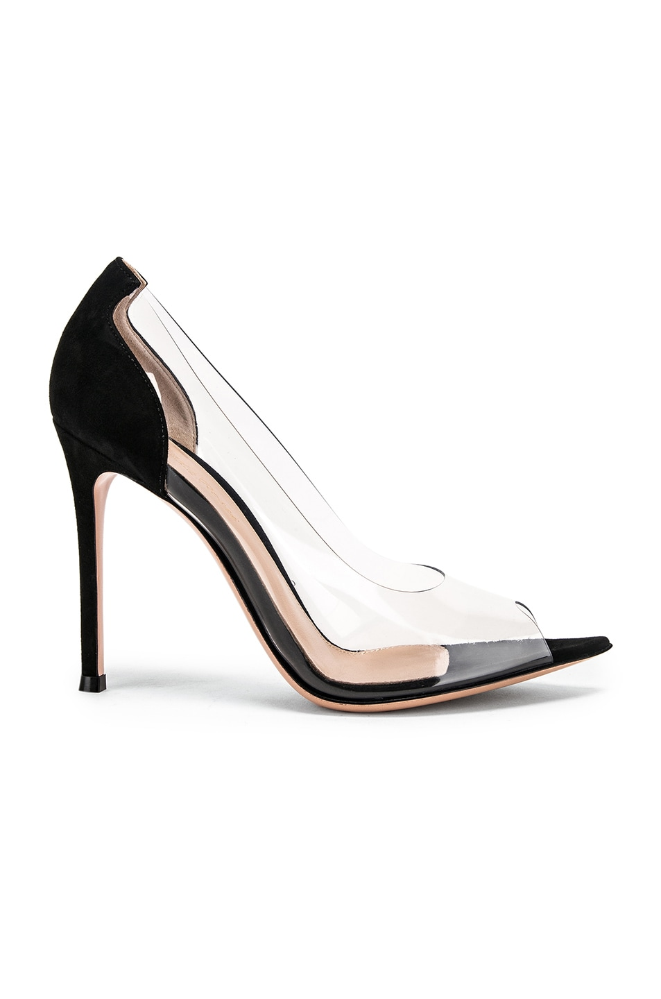 Image 1 of Gianvito Rossi Open Toe Heel in Black & Transparent