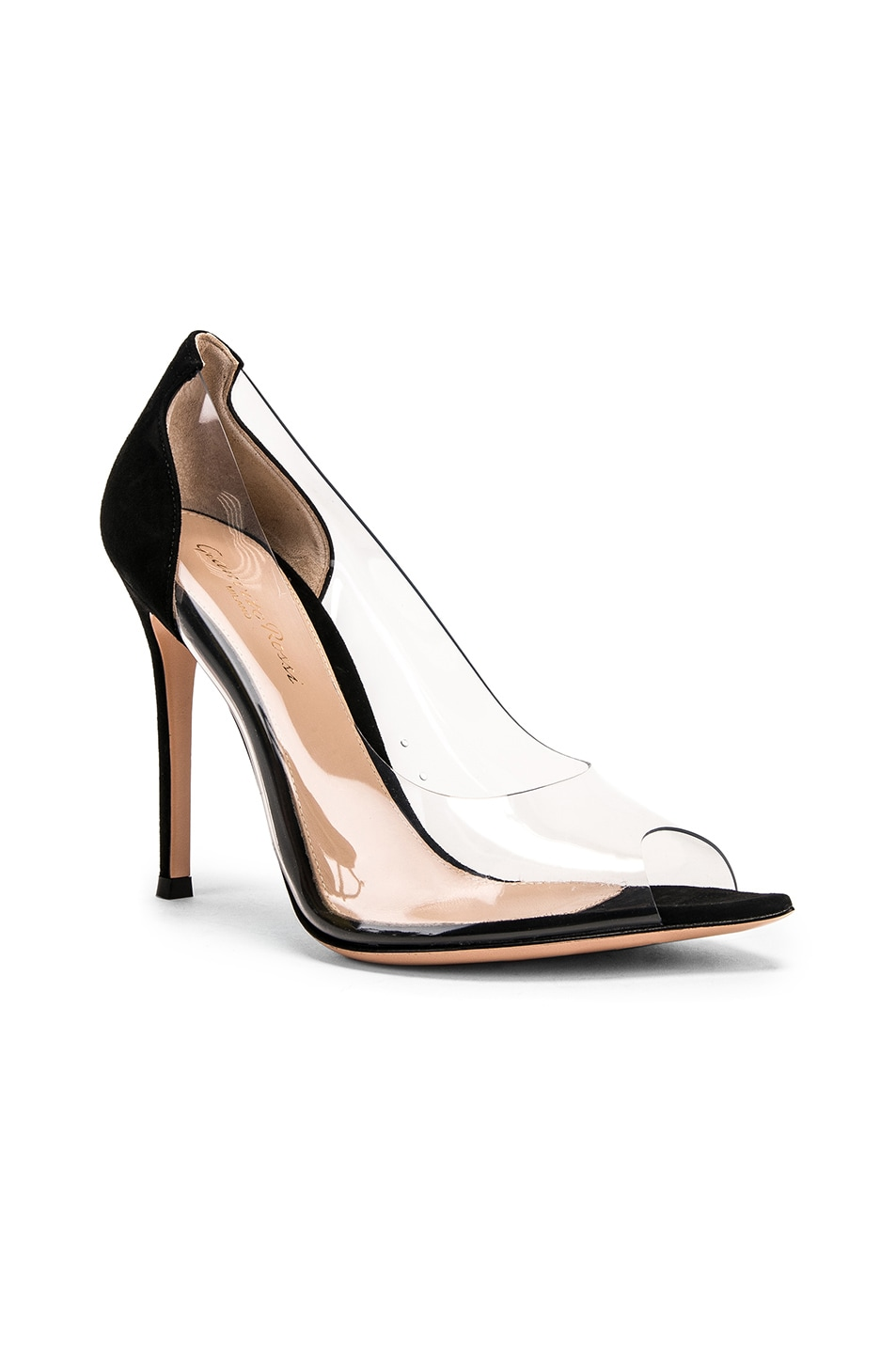 Image 2 of Gianvito Rossi Open Toe Heel in Black & Transparent