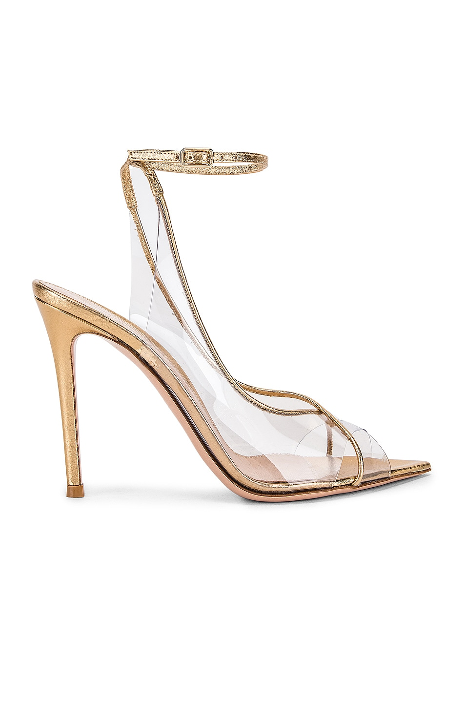 Image 1 of Gianvito Rossi Ankle Strap Heels in Gold & Transparent