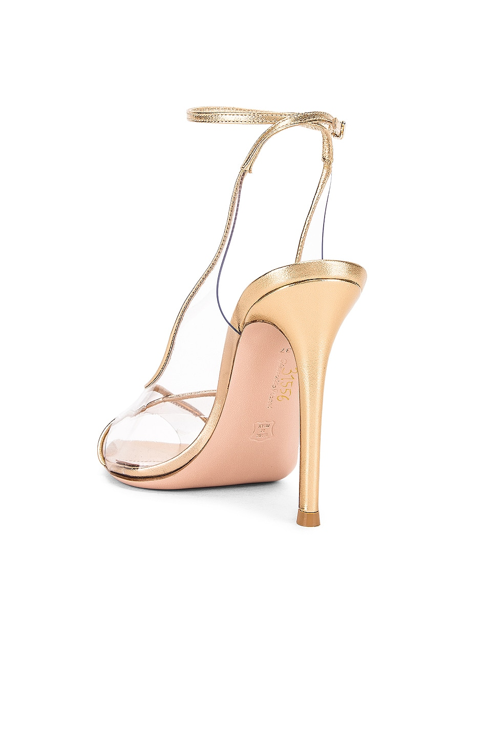 Image 3 of Gianvito Rossi Ankle Strap Heels in Gold & Transparent