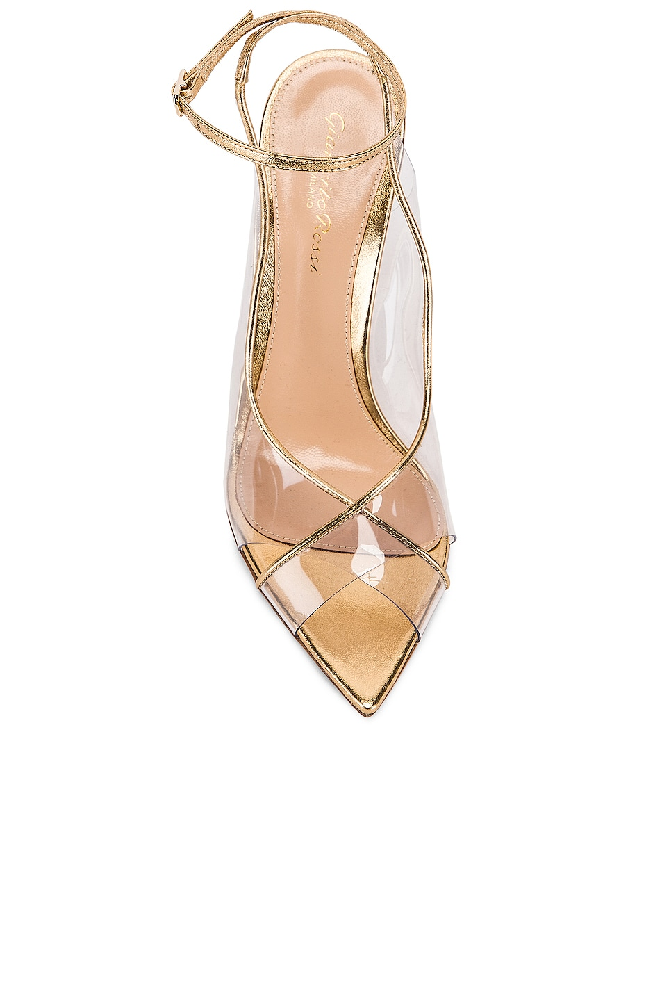 Image 4 of Gianvito Rossi Ankle Strap Heels in Gold & Transparent