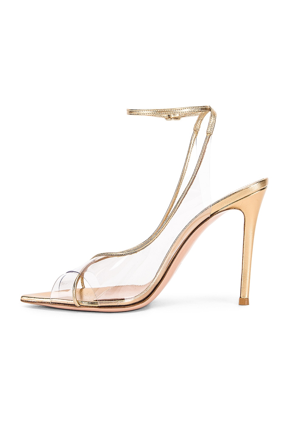 Image 5 of Gianvito Rossi Ankle Strap Heels in Gold & Transparent