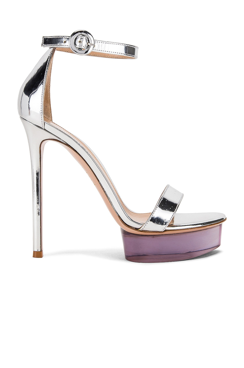 Image 1 of Gianvito Rossi Ankle Strap Platform Heels in Silver