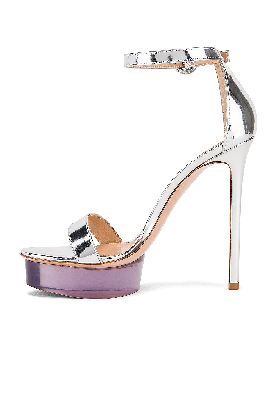 Image 5 of Gianvito Rossi Ankle Strap Platform Heels in Silver