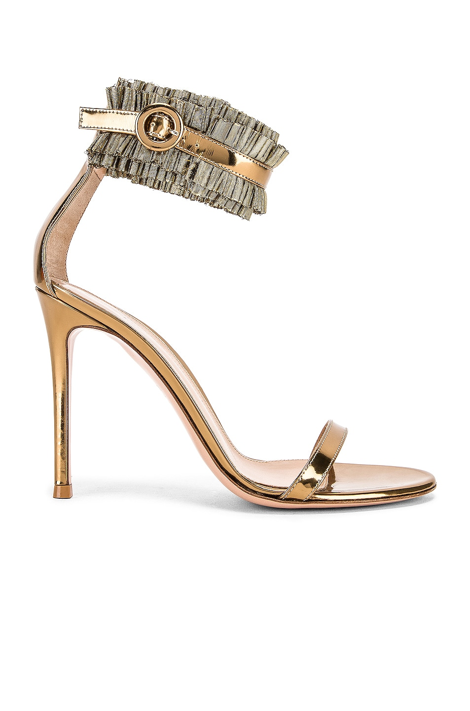 Image 1 of Gianvito Rossi Ruffle Ankle Strap Heels in Gold