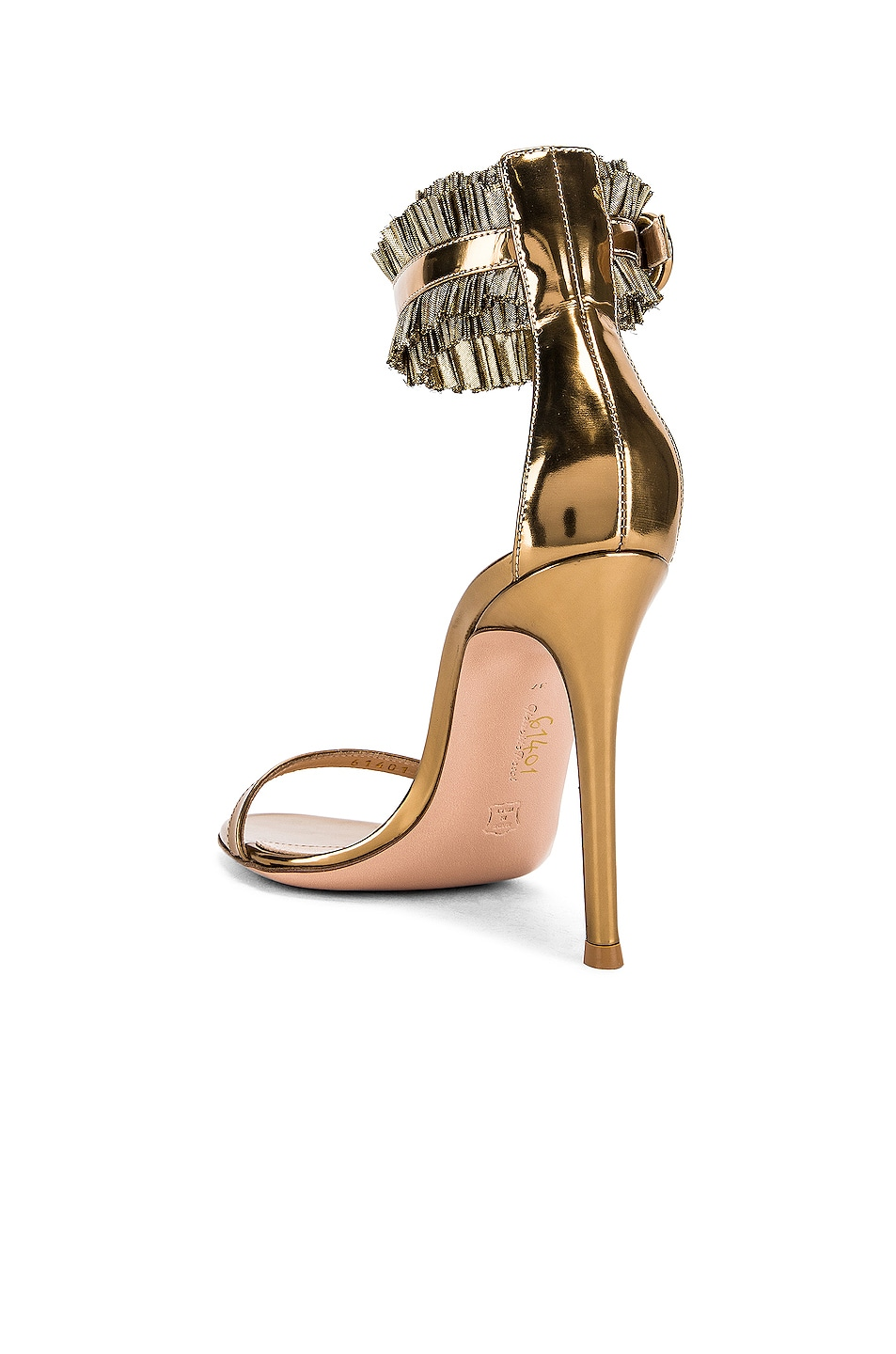 Image 3 of Gianvito Rossi Ruffle Ankle Strap Heels in Gold