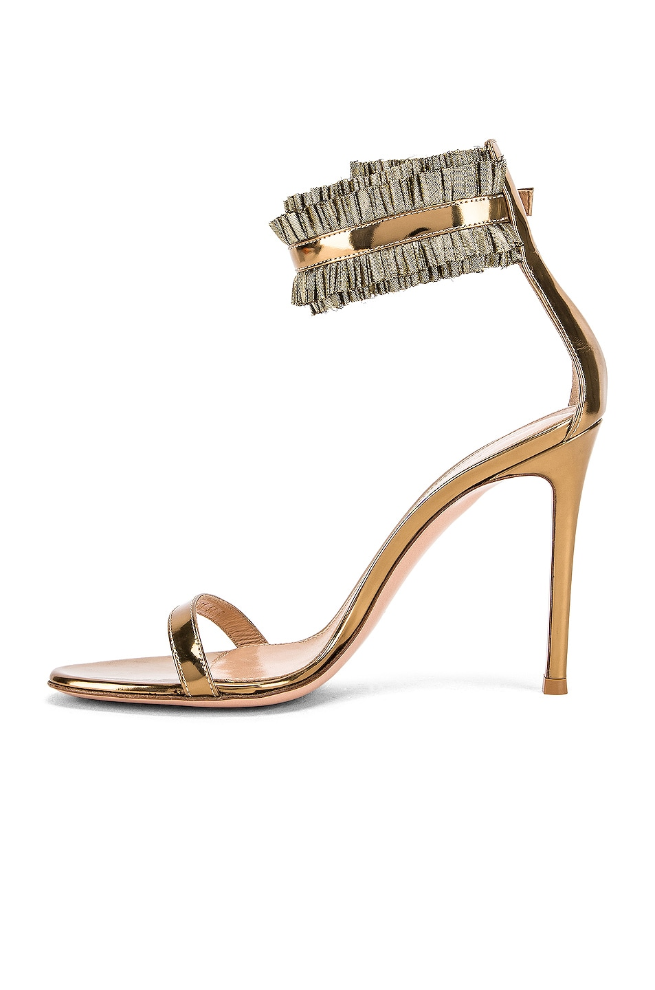 Image 5 of Gianvito Rossi Ruffle Ankle Strap Heels in Gold