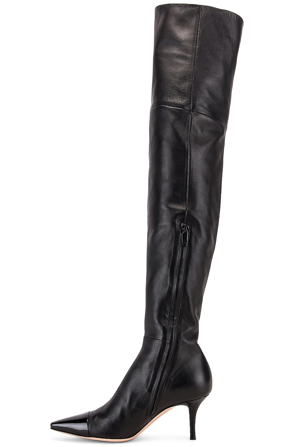 Image 5 of Gianvito Rossi Over the Knee Toe Cap Boots in Black