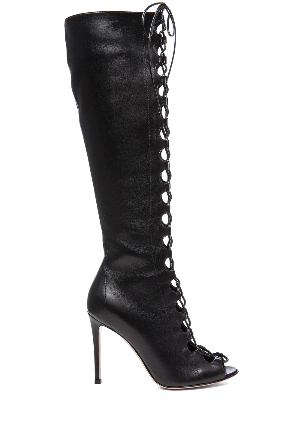 Image 1 of Gianvito Rossi Nappa Leather Lace Up Boots in Nero