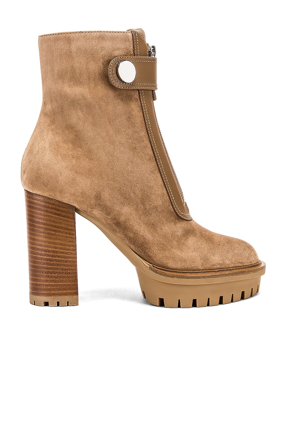 Image 1 of Gianvito Rossi Julian Zipper Ankle Heel Boots in Camel