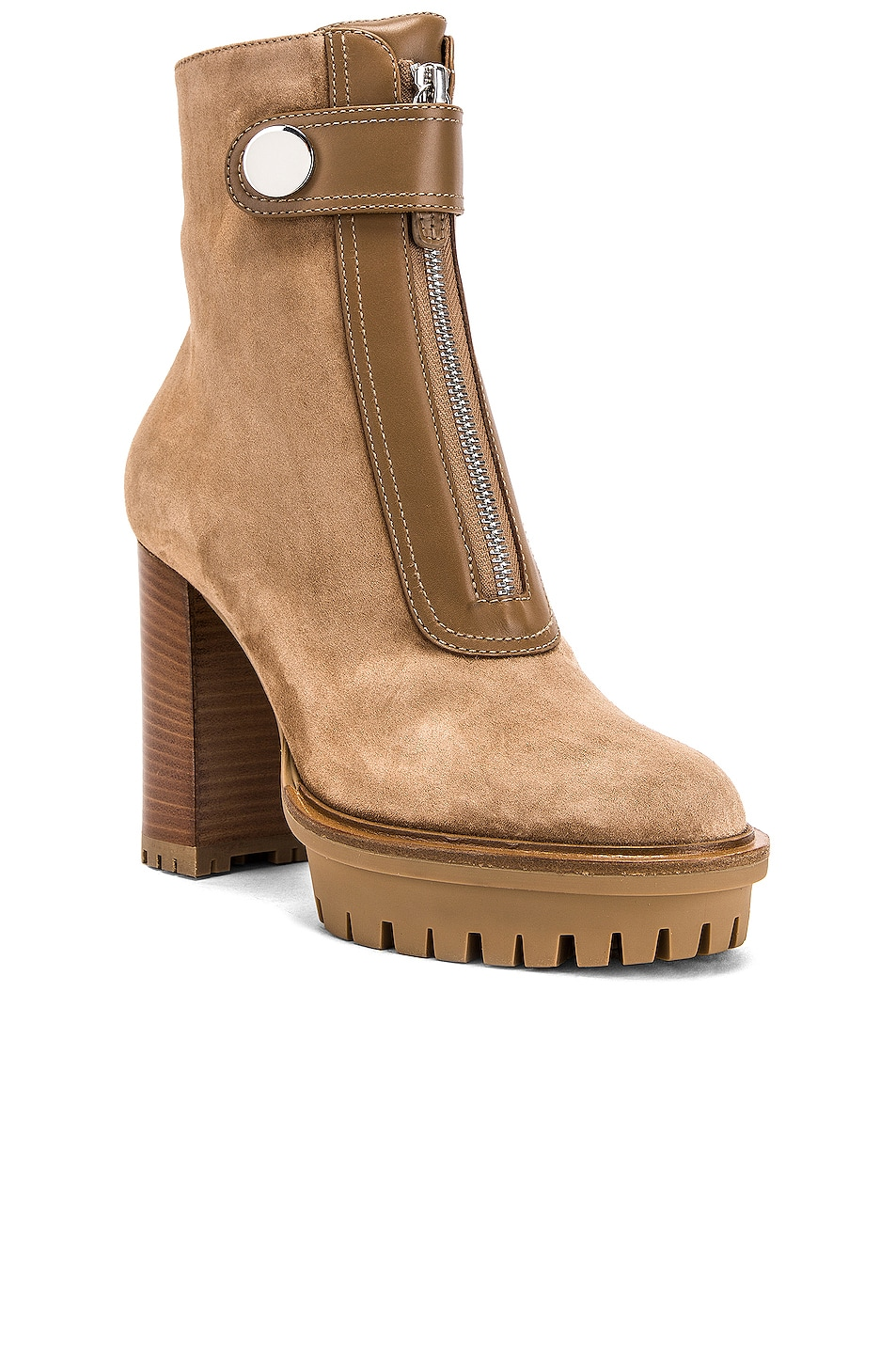 Image 2 of Gianvito Rossi Julian Zipper Ankle Heel Boots in Camel