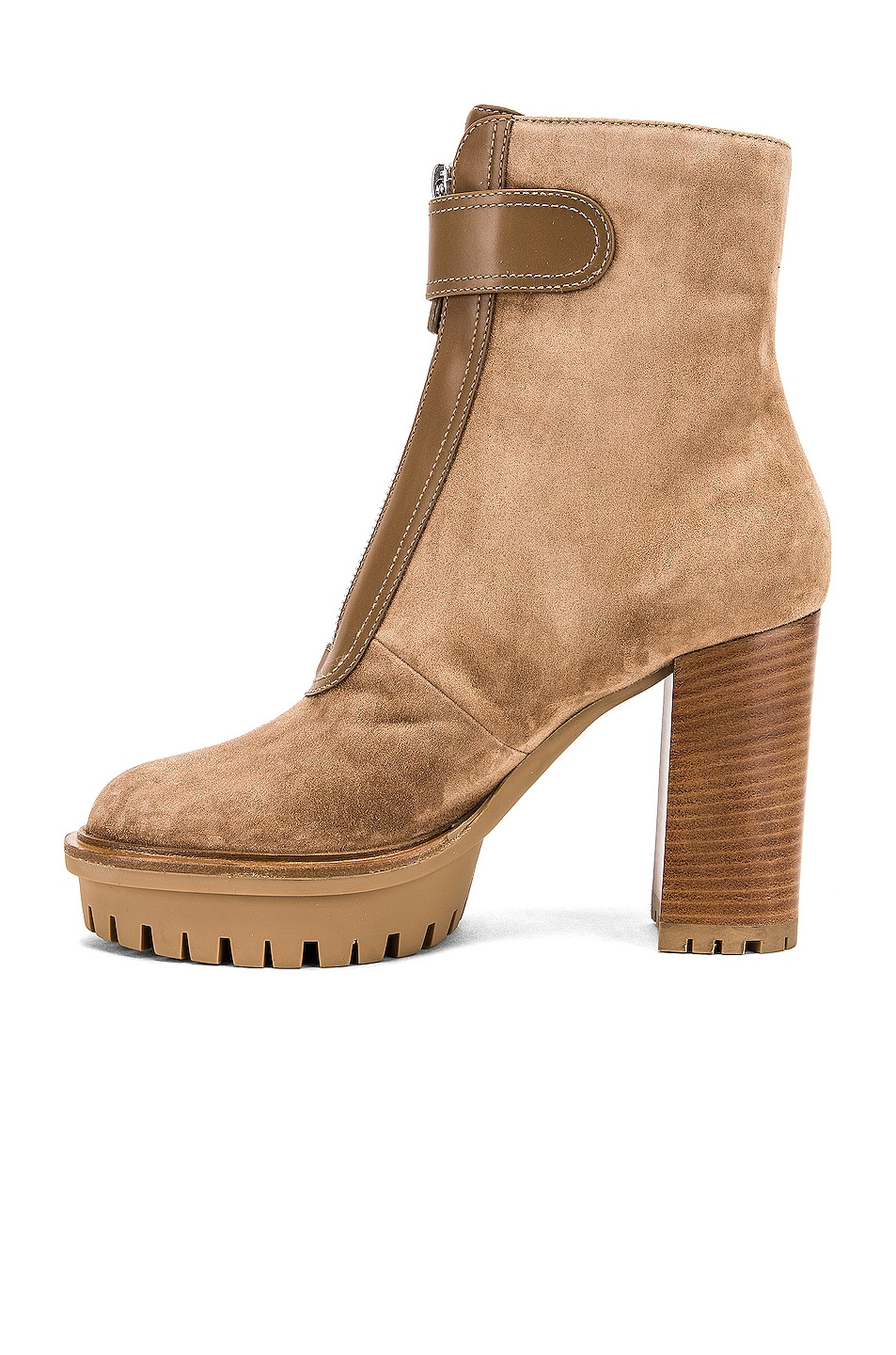 Image 5 of Gianvito Rossi Julian Zipper Ankle Heel Boots in Camel