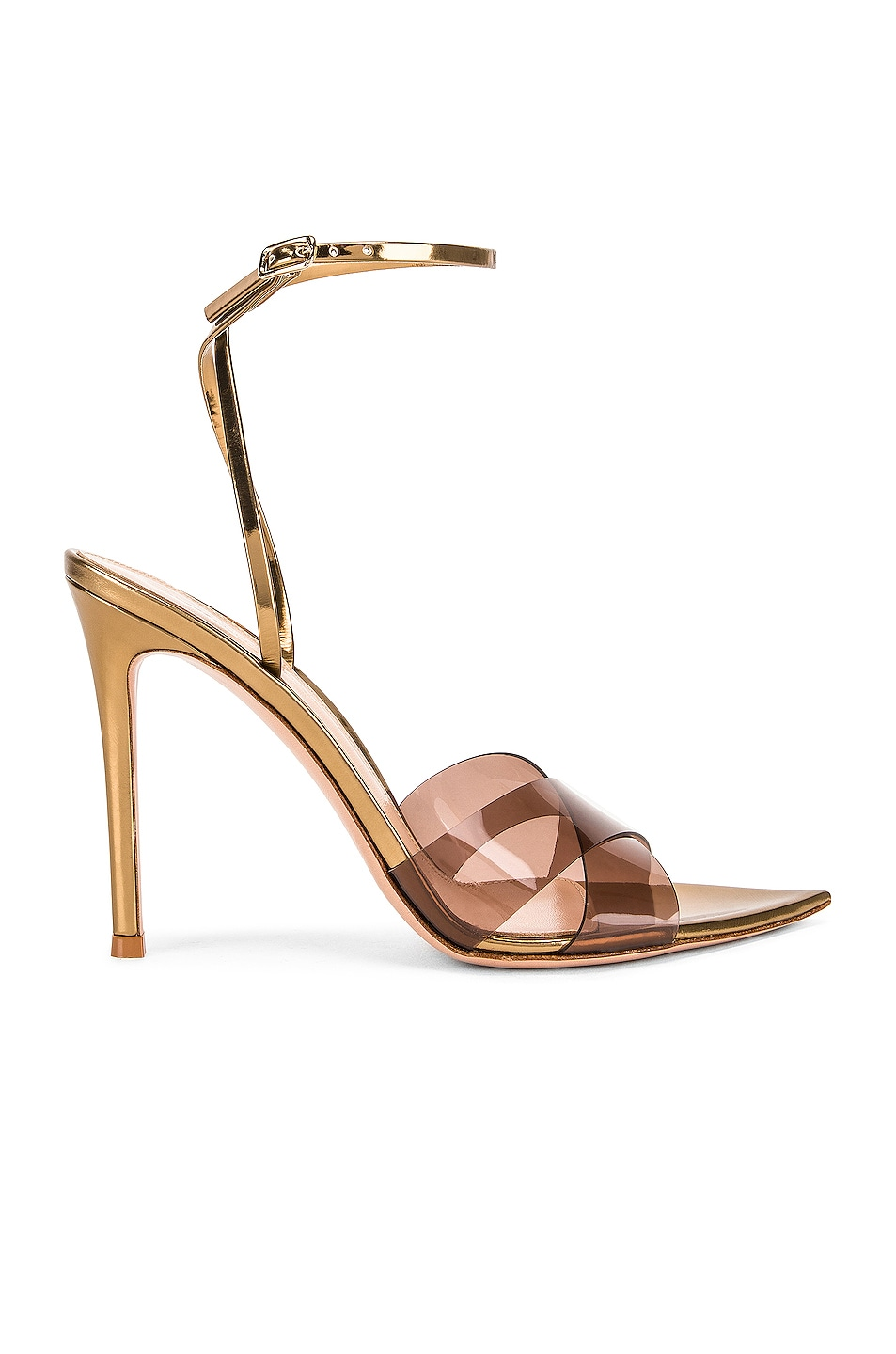 Image 1 of Gianvito Rossi Stark Plexi Ankle Strap Heels in Blush & Gold