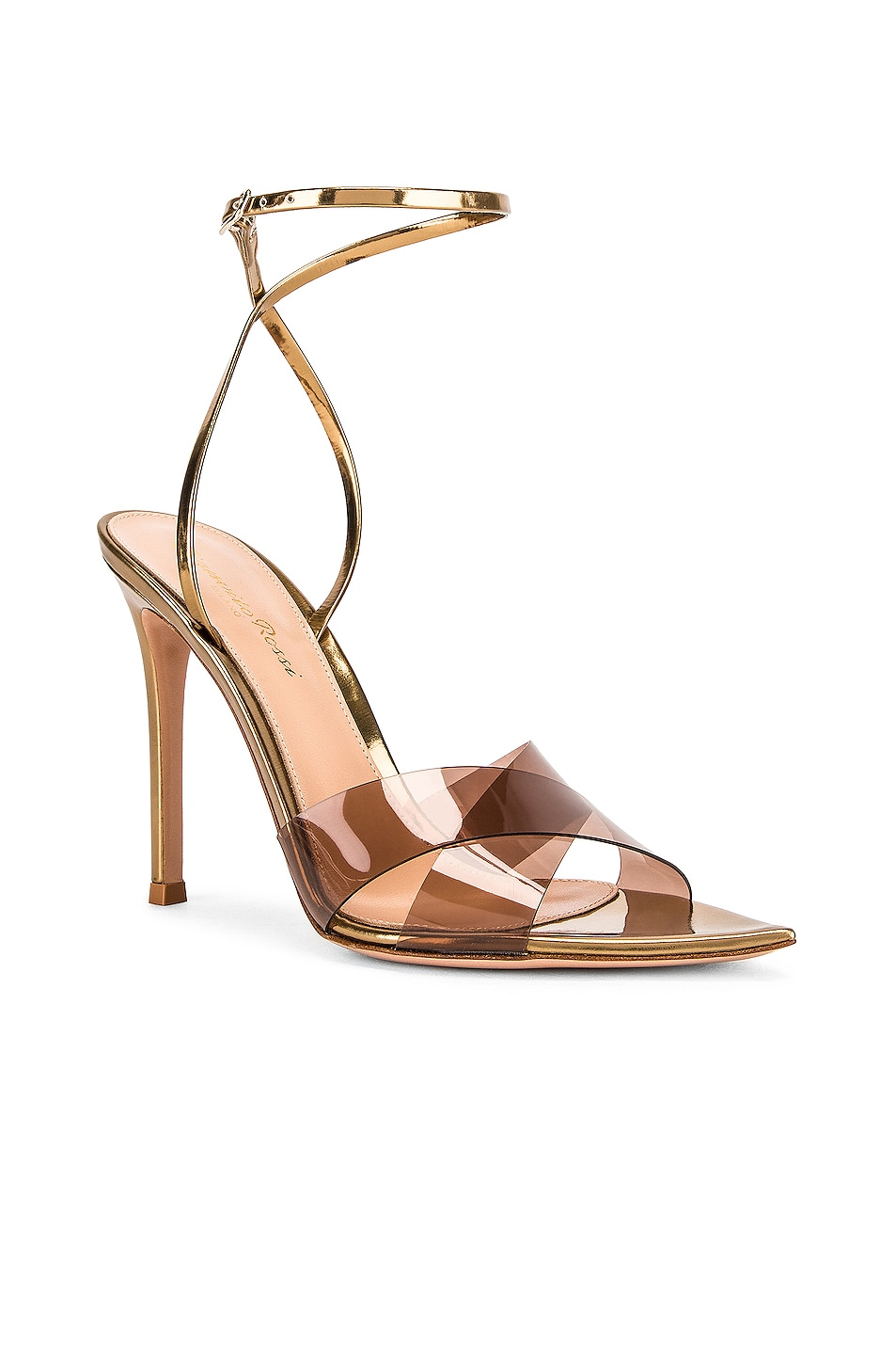 Image 2 of Gianvito Rossi Stark Plexi Ankle Strap Heels in Blush & Gold