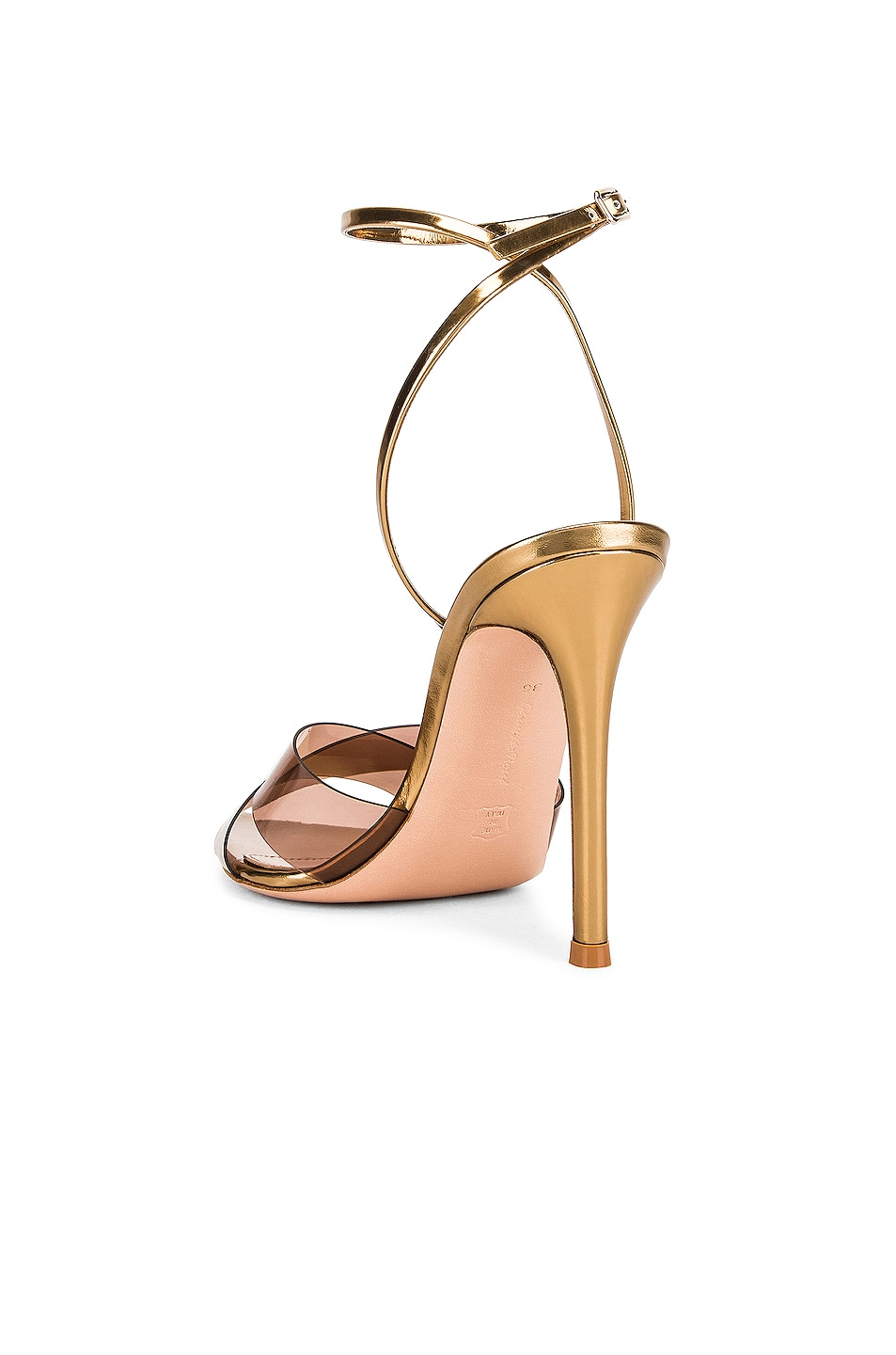 Image 3 of Gianvito Rossi Stark Plexi Ankle Strap Heels in Blush & Gold